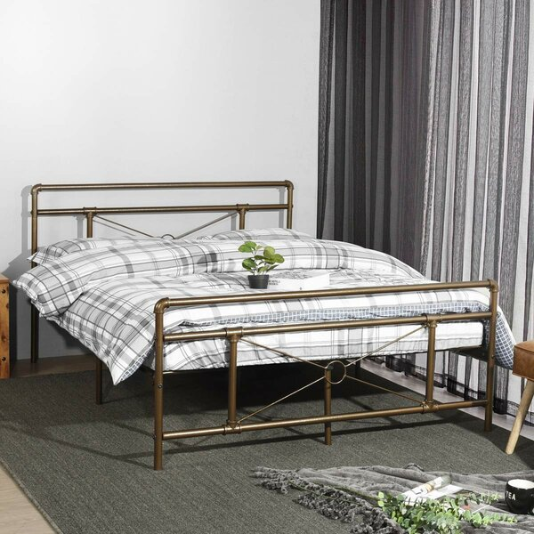 Eleanora Traditional Antique Pipe Shaped Bronze Platform Bed by Williston Forge Williston Forge