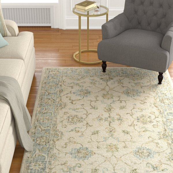Fitzwater Hand-Hooked Wool Ivory/Spa Area Rug by Charlton Home