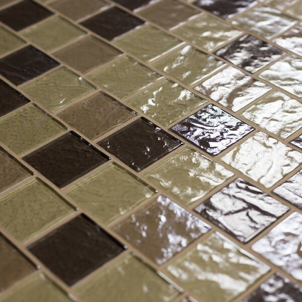 Geo 2 x 2 Glass Mosaic Tile in Light Brown by Abolos