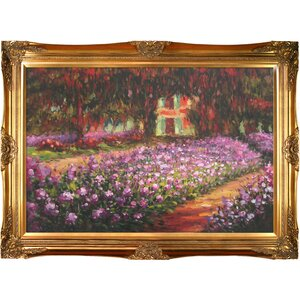 'Artist's Garden at Giverny' by Claude Monet Rectangle Framed Painting by Fleur De Lis Living