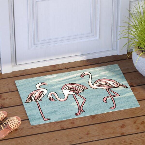 Boller Flamingo Handmade Blue Indoor/Outdoor Area Rug by Highland Dunes