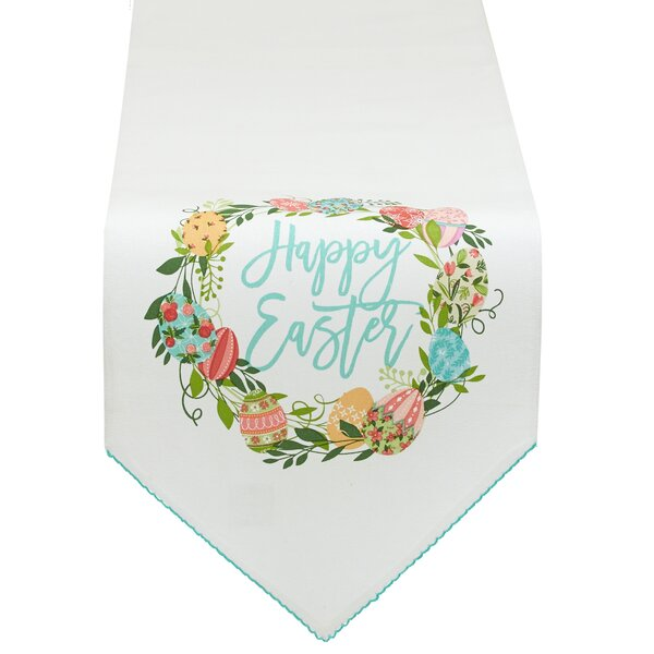 Easter Wreath Embellished Table Runner by The Holiday Aisle