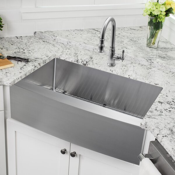 32.88 L x 20.57 W Apron Front Single Bowl Undermount Stainless Steel Kitchen Sink with Faucet by Soleil