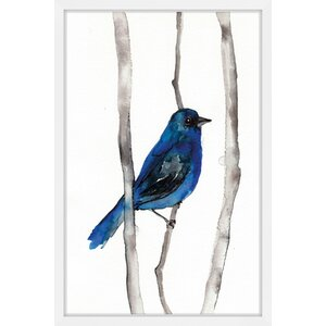 'Indigo Bunting' by Christine Lindstrom Framed Painting Print by Marmont Hill