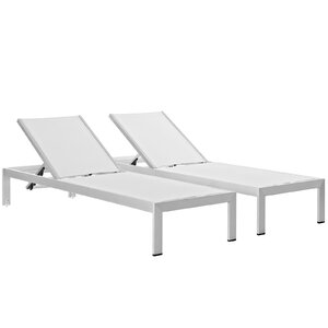 Coline Outdoor Patio Aluminum Single Chaise (Set of 2) Orren Ellis