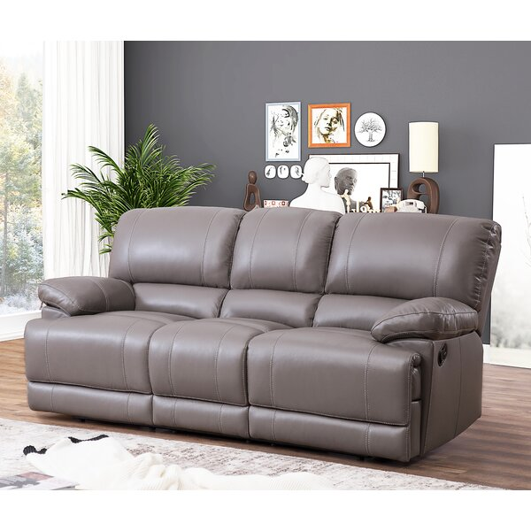 Get Premium Loper Leather Reclining Sofa by Red Barrel Studio by Red Barrel Studio