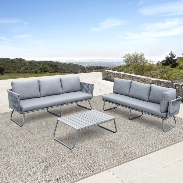 Barnstaple 3 Piece Rattan Sofa Seating Group with Cushions by Brayden Studio