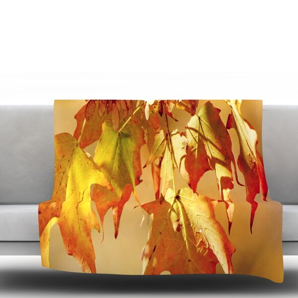 Autumn Leaves by Angie Turner Fleece Throw Blanket by East Urban Home