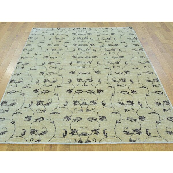 One-of-a-Kind Bean Hand-Knotted Beige Wool Area Rug by Isabelline