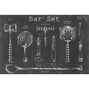 'Bar Set' Graphic Art Print on Canvas by Laurel Foundry Modern Farmhouse