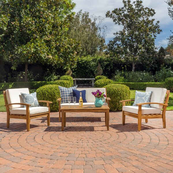 Juno 4 Piece Sofa Seating Group with Cushions by Highland Dunes