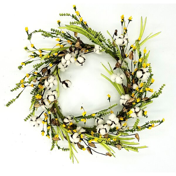 Wildflower 24 Cotton Wreath by Gracie Oaks