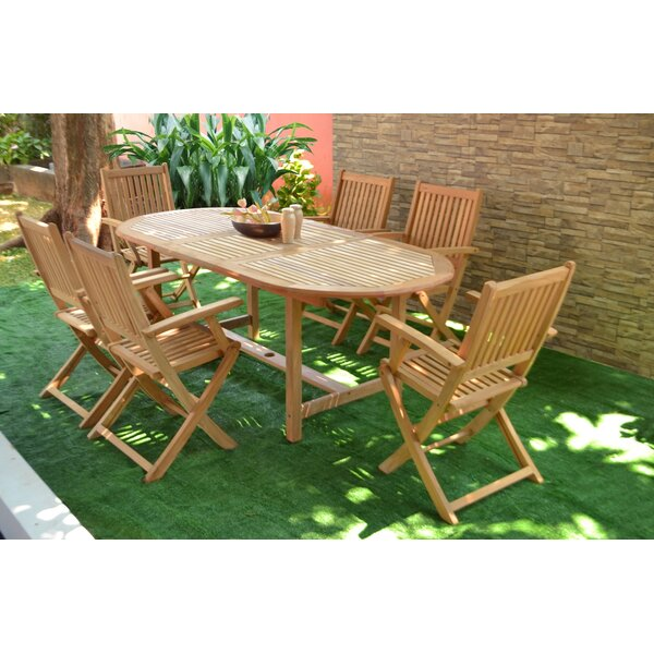Hulda 7 Piece Teak Dining Set by Rosecliff Heights
