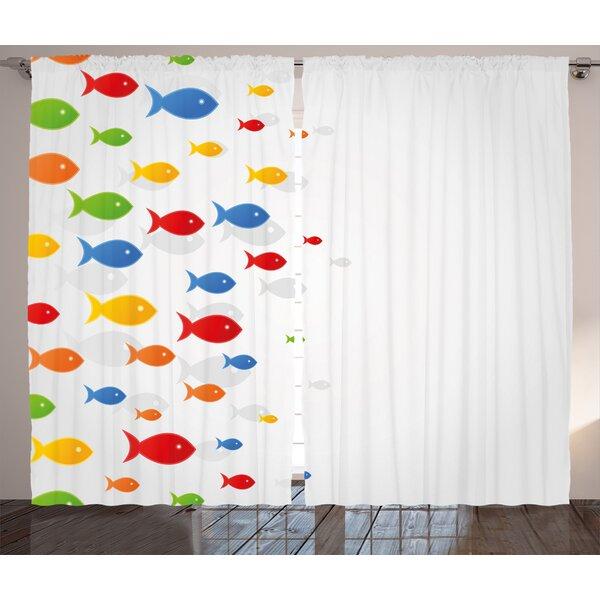 Decor Wild Life Room Darkening Rod Pocket Curtain Panels (Set of 2) by East Urban Home