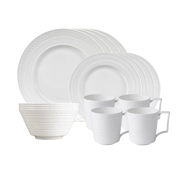 Intaglio 16 Piece Bone China Dinnerware Set, Service for 4