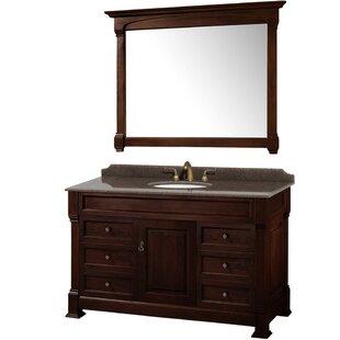 Coupon Andover 55 Single Dark Cherry Bathroom Vanity Set with Mirror ByWyndham Collection