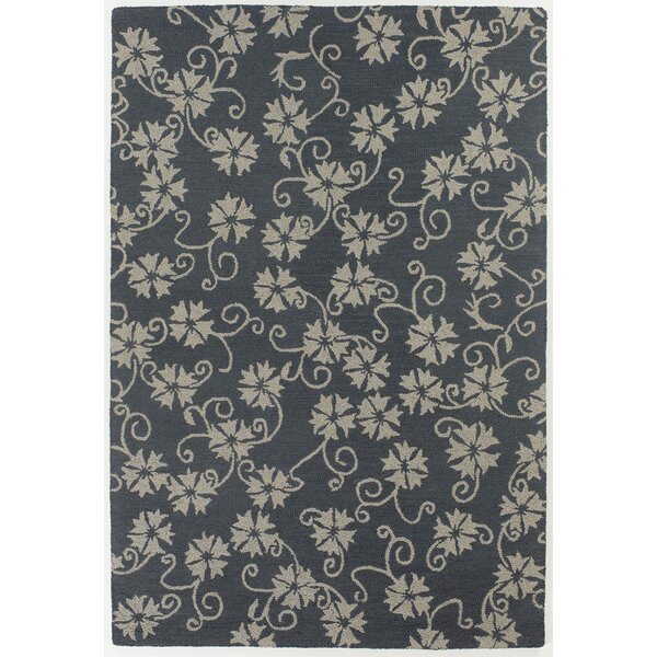 Duryea Blue/Ivory Floral Leaves Area Rug by August Grove