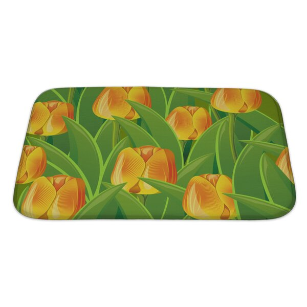 Flowers From Tulips and Leaves Bath Rug