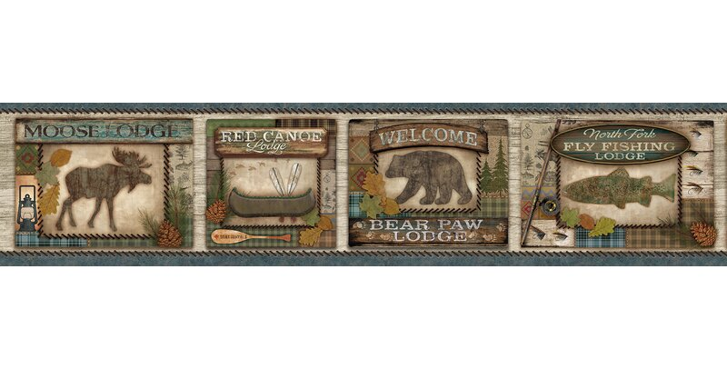DEER MOOSE BEAR COUNTRY NATURE WALLPAPER BORDER NEW ARRIVAL WILDERNESS CABIN