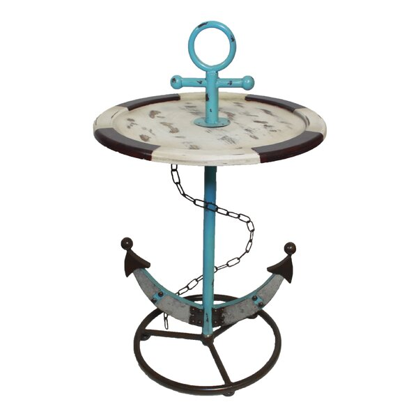Brungardt Wood and Metal Anchor End Table by Longshore Tides