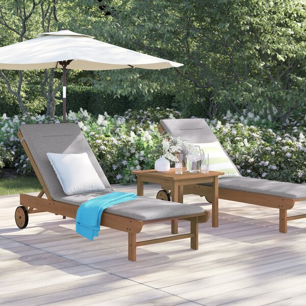 Brighton Gray Patio Sun Lounge Set with Table