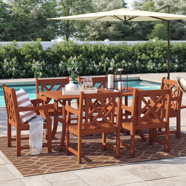 Leonie 7 Piece Dining Set by Beachcrest Home