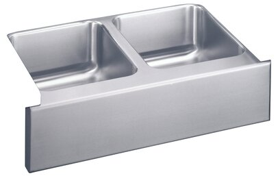 Gourmet 33 L x 20.5 W Undermount Double Bowl Kitchen Sink with Apron by Elkay
