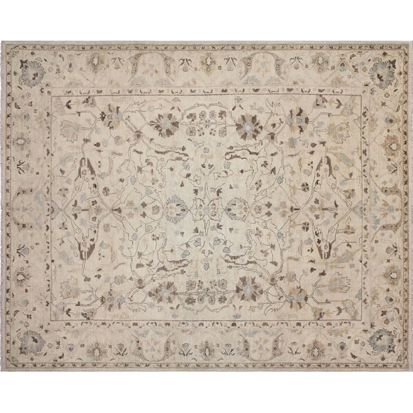 One-of-a-Kind Romona Hand-Knotted Rectangle Ivory Wool Indoor Area Rug by Isabelline