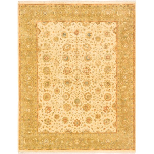 One-of-a-Kind Mirzapur Hand-Knotted Cream Area Rug by ECARPETGALLERY