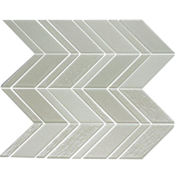 Chevron Random Sized Glass Mosaic Tile in Silver/White by Susan Jablon