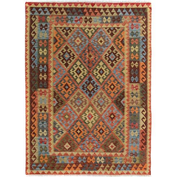 Rosalina Handmade-Kilim Wool Rectangle Rust/Blue Area Rug by Bloomsbury Market