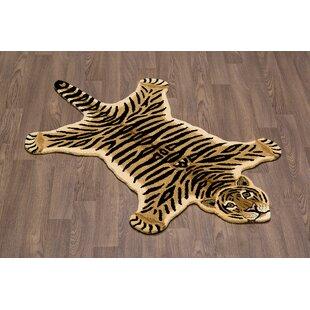 Hewitt Tiger Skin Shape Hand Woven Wool Brown/Black Area Rug ByZoomie Kids