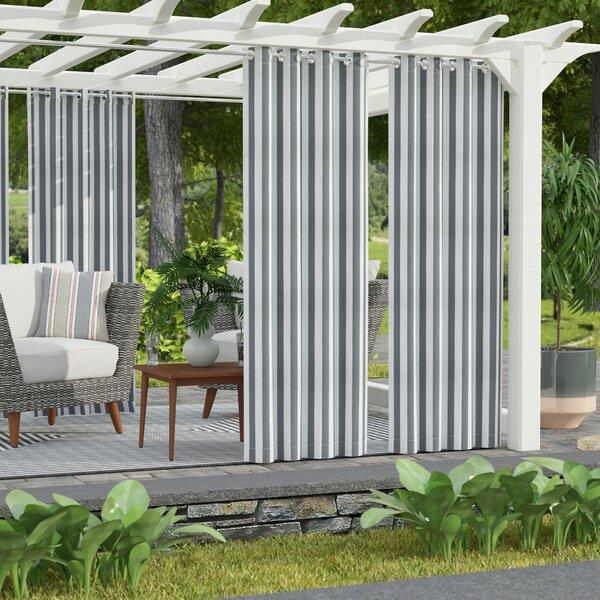 Gonzalo Decor Striped Semi-Sheer Outdoor Grommet Single Curtain Panel by Latitude Run