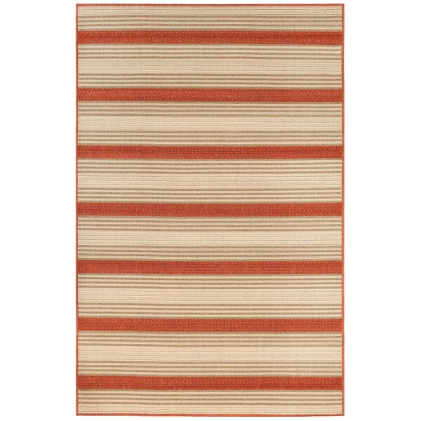 Roby Stripe Red/Ivory Indoor/Outdoor Area Rug by Breakwater Bay