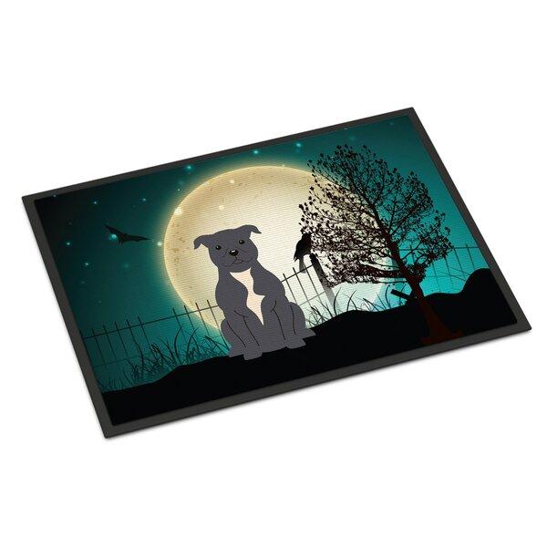 Halloween Scary Stafford Shire Bull Terrier Doormat by Caroline's Treasures