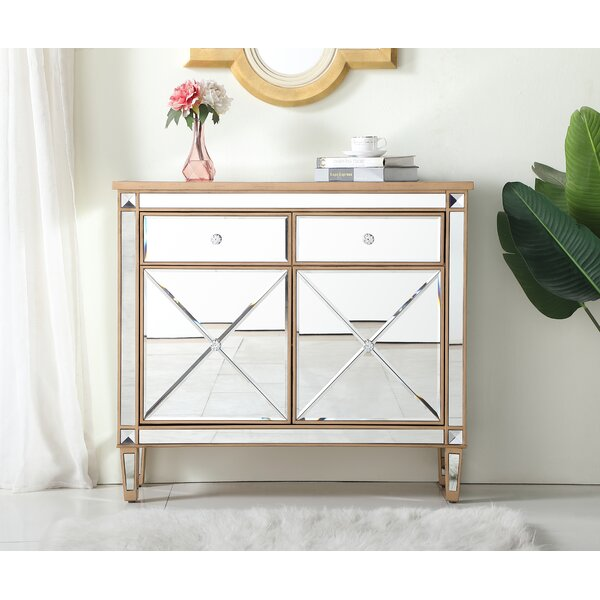 2 Door Mirrored Apothecary Square Accent Cabinet