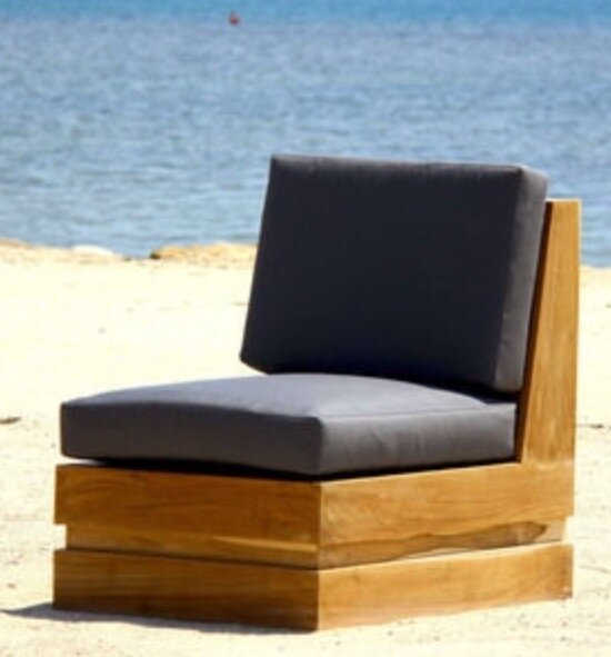 Seaside Teak Patio Chair with Sunbrella Cushions by Trijaya Living