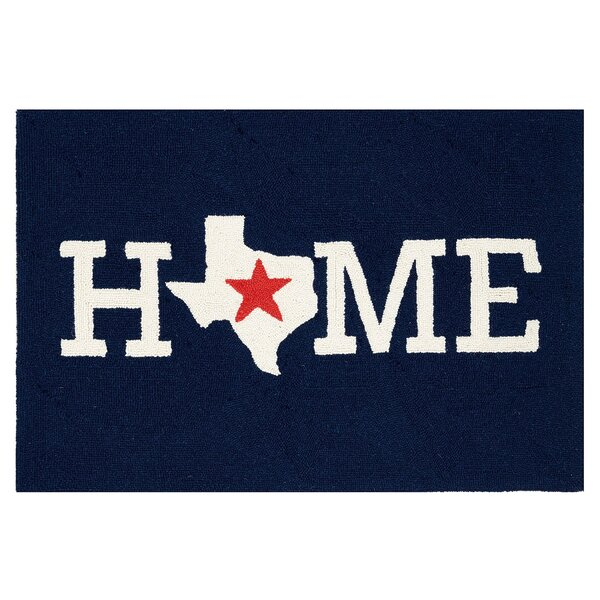 Roeut Home Texas Hand Hooked Wool Blue Area Rug by Red Barrel Studio