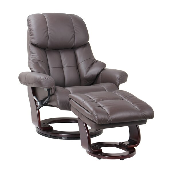 Monsour Leather Manual Swivel Recliner And Ottoman By Latitude Run
