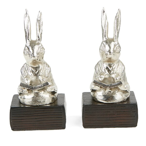 Reading Rabbit Aluminum Bookends (Set of 2) by Mind Reader