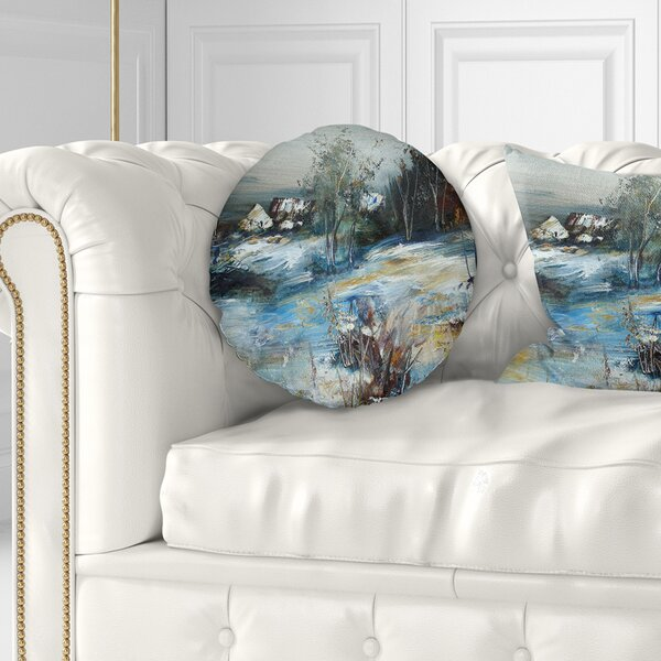 Landscape Village in Winter Throw Pillow by East Urban Home