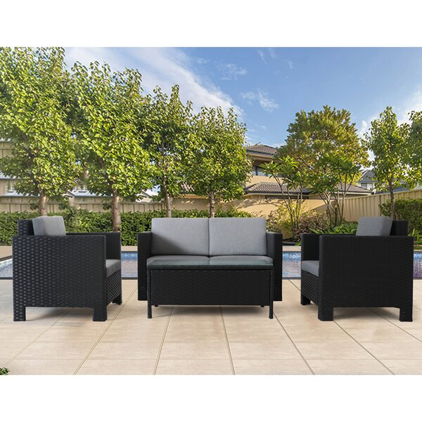 Burrigan 4 Piece Sofa Seating Group with Cushions, (Set of 4) by Charlton Home