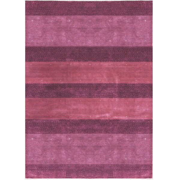 One-of-a-Kind Gabbeh Hand-Knotted Wool Plum Area Rug by Bokara Rug Co., Inc.