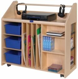 Audio 10 Compartment Teaching Cart with Casters by Angeles