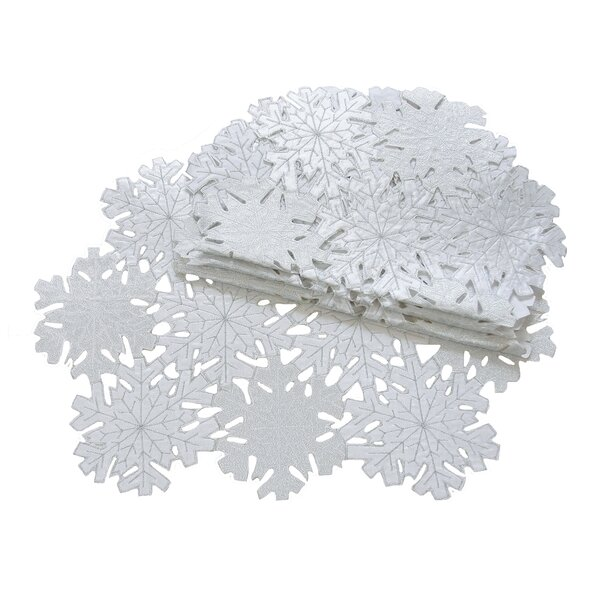 Shimmer Snowflake Embroidered Cutwork Placemat (Set of 4) by The Holiday Aisle
