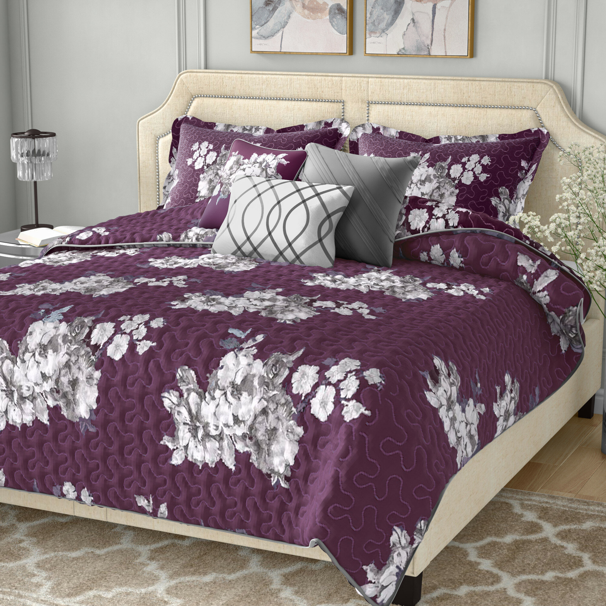 dotted purple bedding com quilt your ip walmart damask comforter zone set