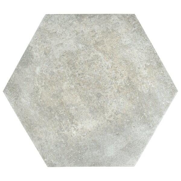 Victoria Ferro Hexagon 14.13 x 16.25 Porcelain Field Tile in Bianco by EliteTile