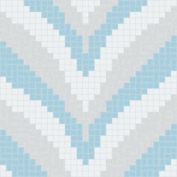 Urban Essentials Stylized Chevron 3/4 x 3/4 Glass Glossy Mosaic in Breeze Blue by Mosaic Loft