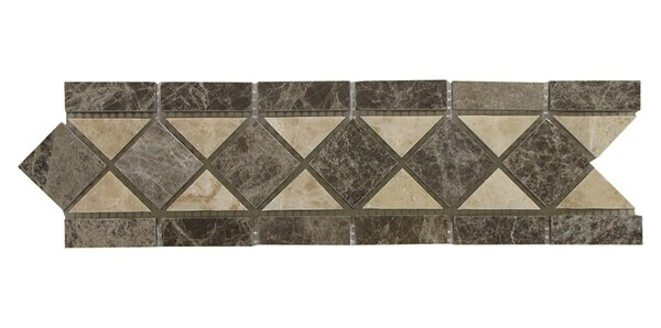 Cappuccino 3.25 x 12 Marble Classic Border Tile in Beige (Set of 10) by Seven Seas