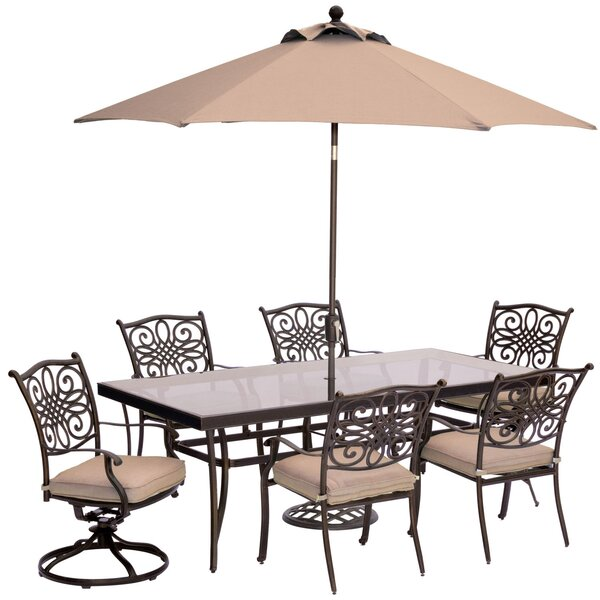 Carleton 7 Piece Bold & Eclectic Modern Dining Set with Cushions by Fleur De Lis Living